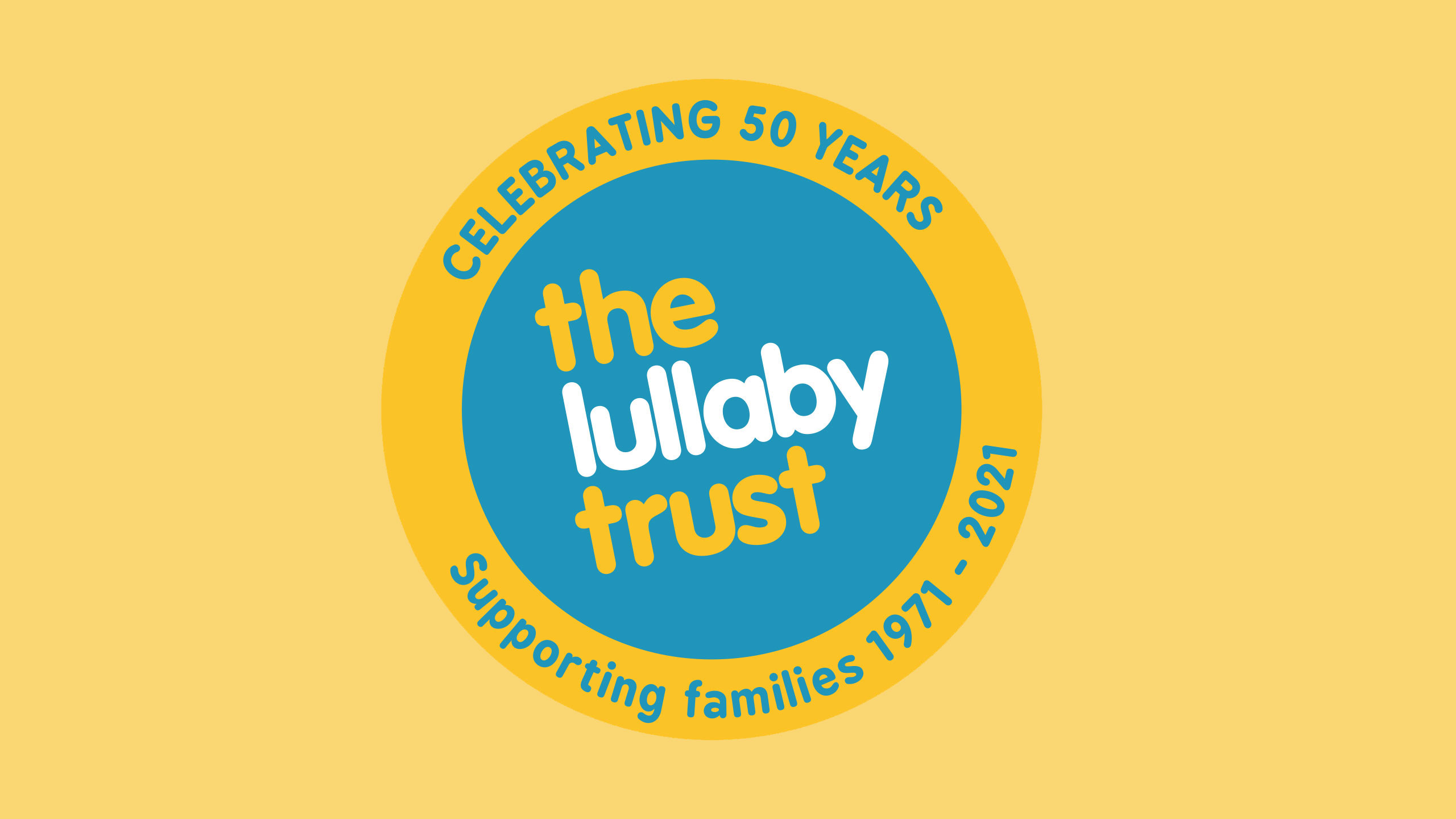 lullaby-trust-50th-anniversary-logo-on-yell-background