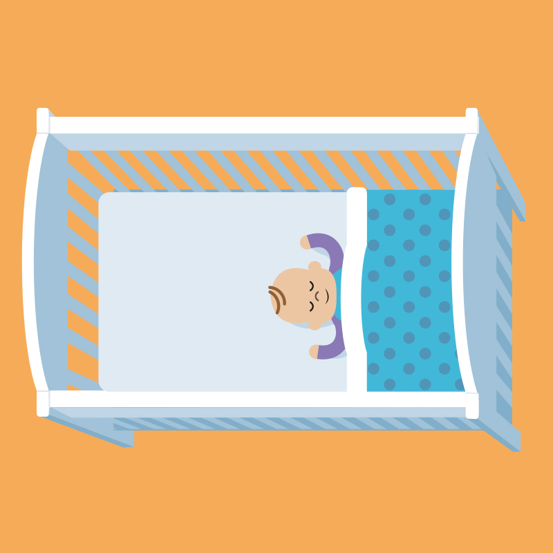 Illustration of baby sleeping in a cot