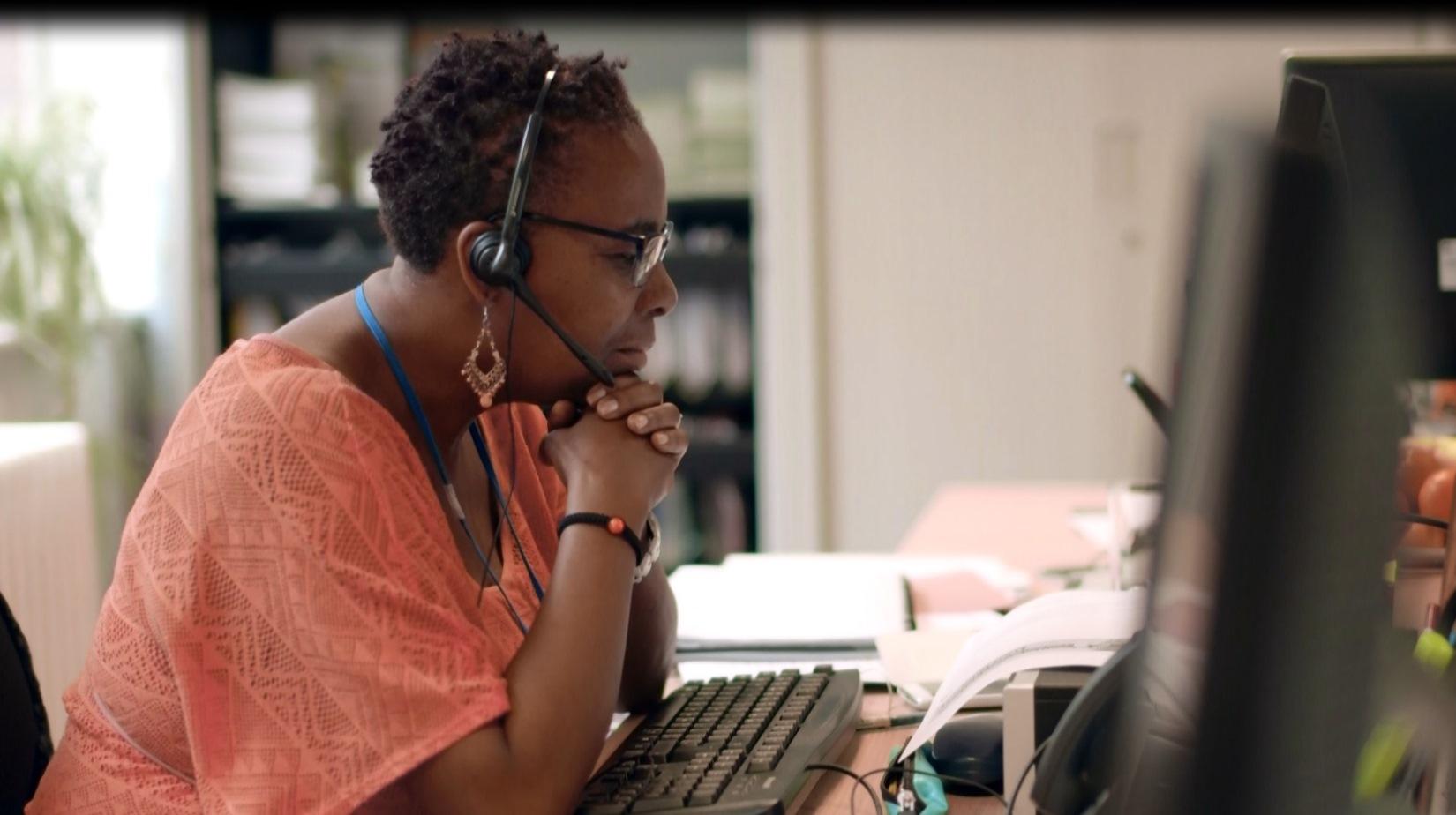 Marcia our helpline adviser on the phone