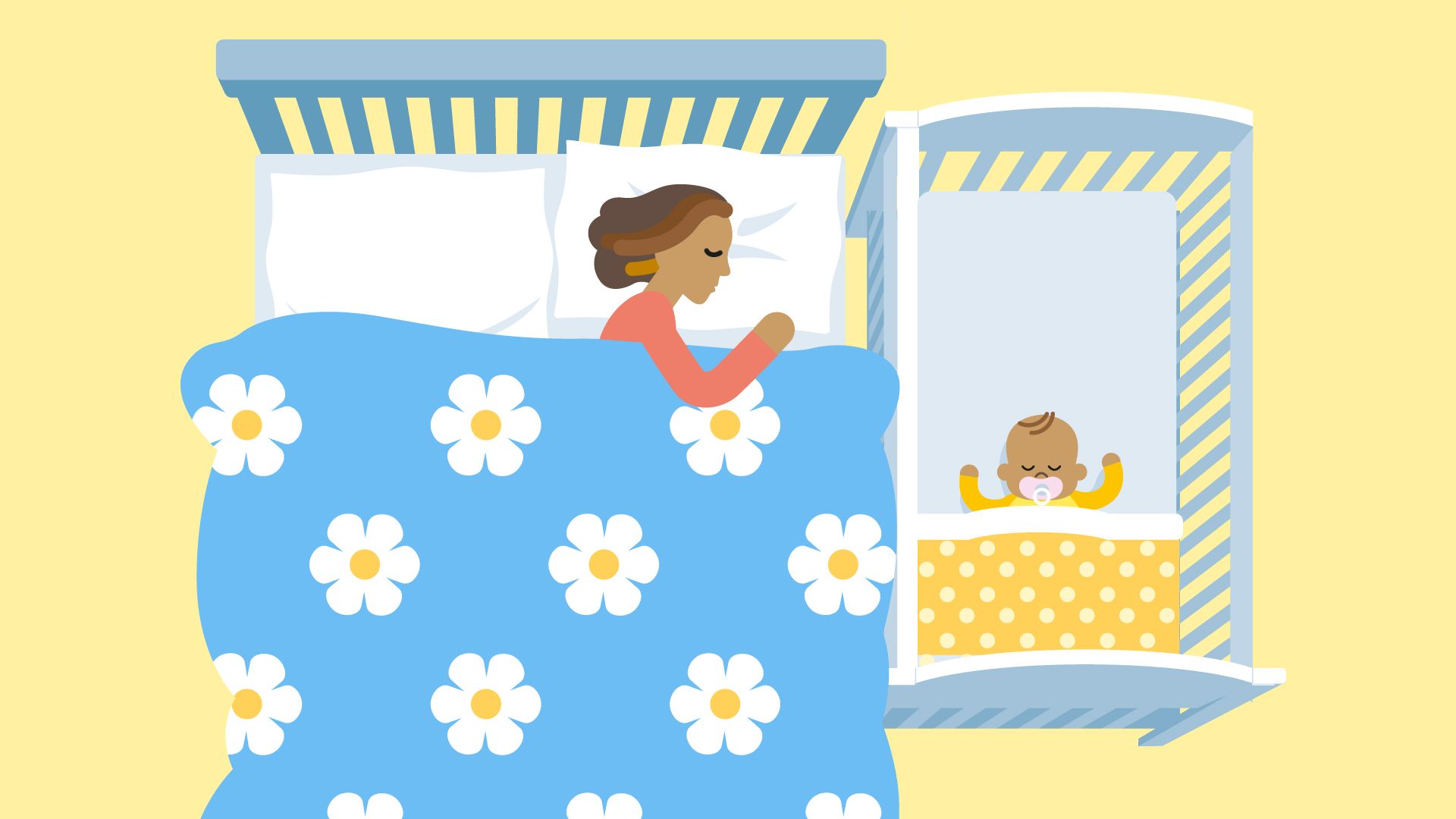 Illustration of mum and baby sharing a room