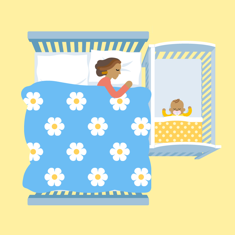 Illustratration of mum sharing room with baby