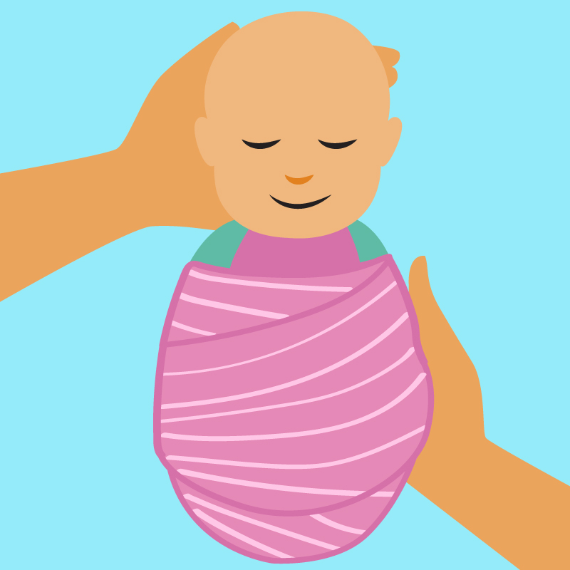 Illustration of swaddled baby