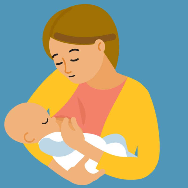 Illustration of woman breastfeeding baby
