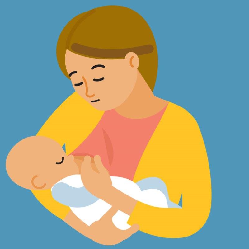 Illustration of woman breastfeeding baby