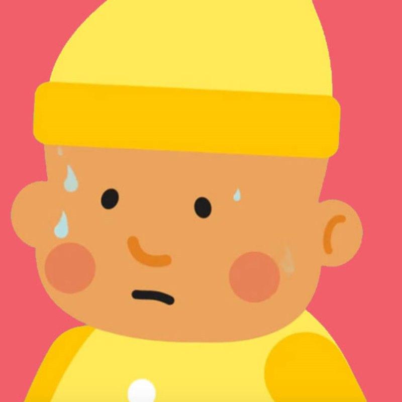Illustration of sweating baby