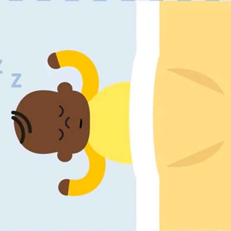 Illustration of baby sleeping on its back